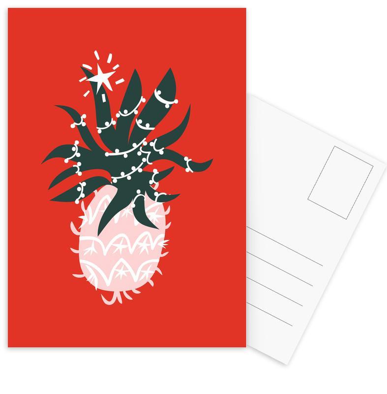 Pineapples, Christmas, Christmas Pineapple 1 Postcard Set