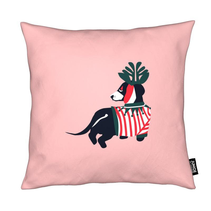 Chiens, Noël, Art pour enfants, Dog On Holiday coussin