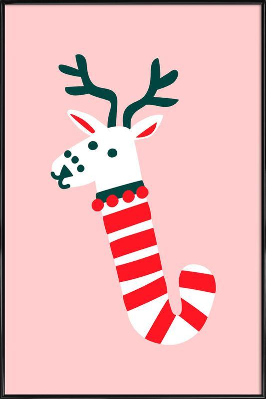 Peppermint Deer -Bild mit Kunststoffrahmen
