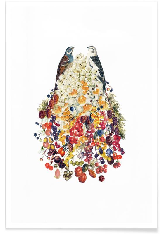 Lovebirds in Winter Poster