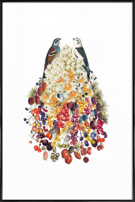 Lovebirds in Winter Framed Poster
