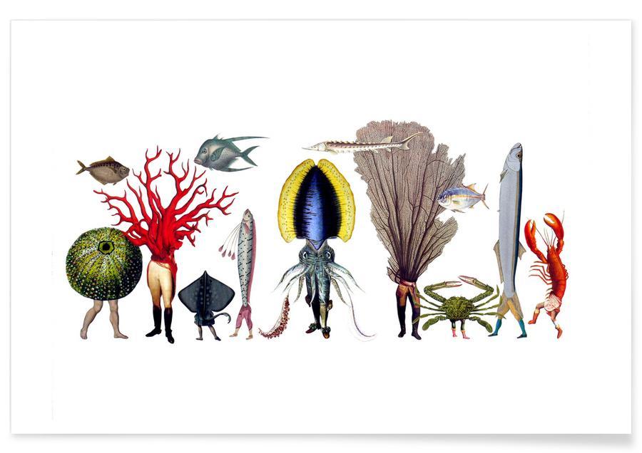 Fantasie- & Mischwesen, Retro, Under the Sea #2 -Poster
