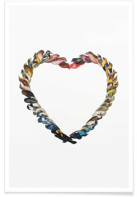 Rétro, Cœurs, Anniversaires de mariage et amour, Saint-Valentin, Birdheart affiche