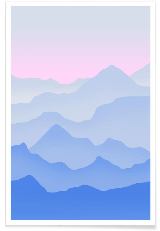 Mountains, Between Blue Poster