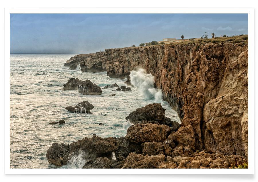Bergen, Stranden, Magical Malta Stormy Cliffs poster