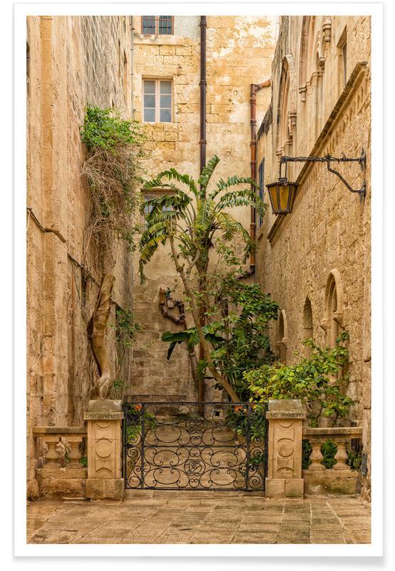 , Magical Malta Mdina, Old City Yard -Poster