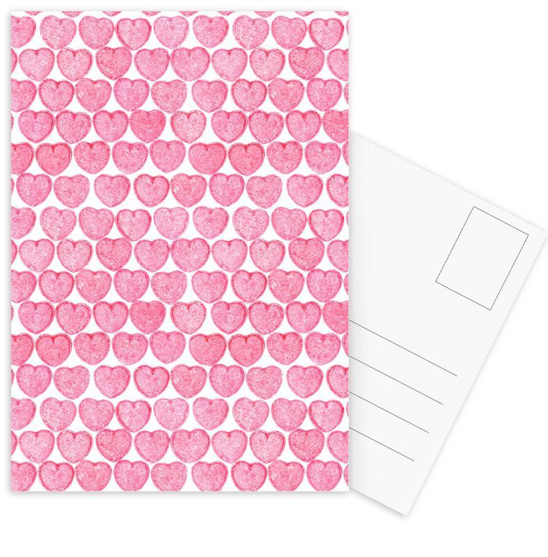 Anniversaries & Love, Hearts, Patterns, Pink Hearts Postcard Set