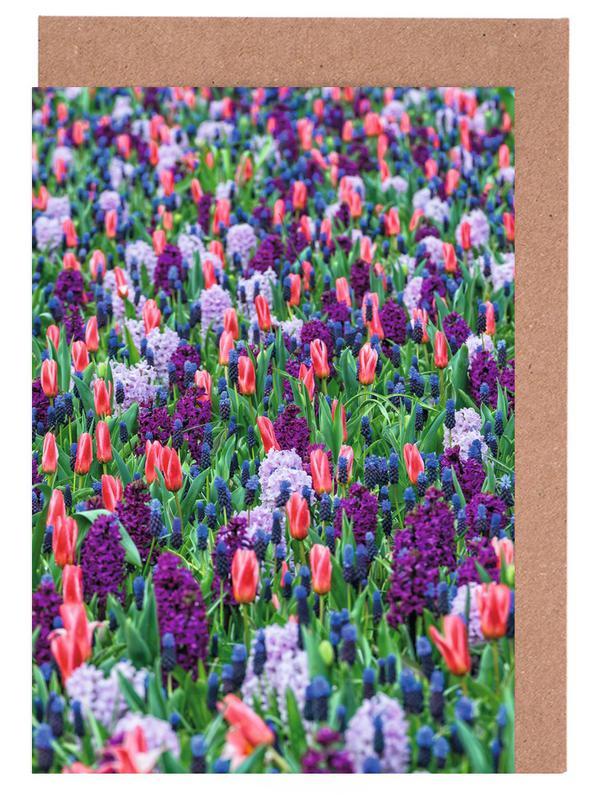 Tulip Field Purple Greeting Card Set