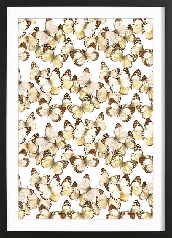 Butterflies affiche sous cadre en bois