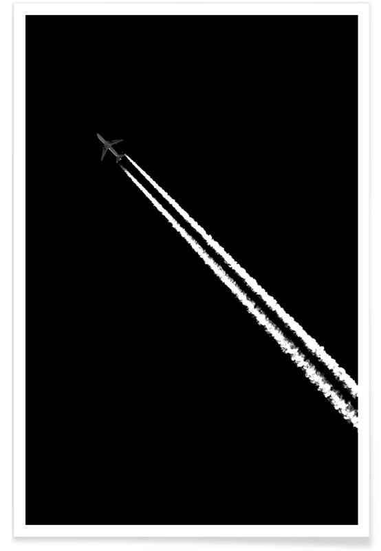 Skies & Clouds, Black & White, Airplanes, Black and White Poster