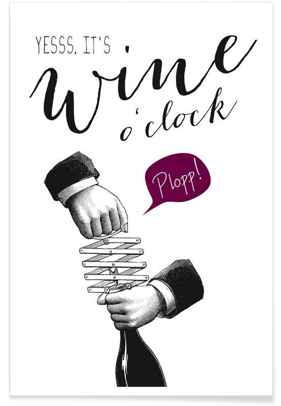 Quotes en slogans, Grappig, Wijn, Wine o'clock poster