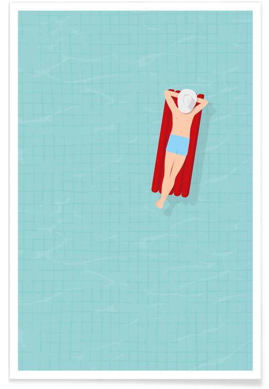 Simning, Luftmatratze Poster