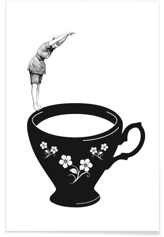 Noir & blanc, Rétro, Kopfsprung in Teetasse affiche