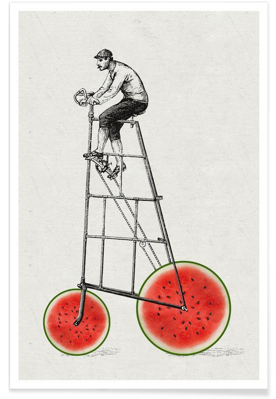 Funny, Retro, Melonenradler Poster