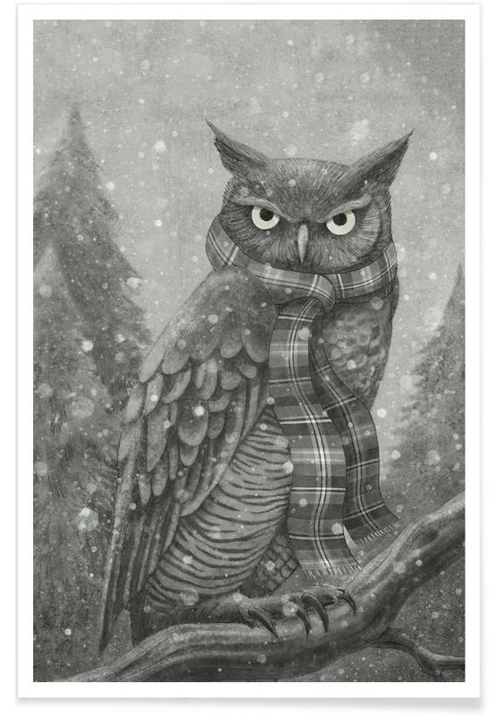 Noir & blanc, Chouettes, Winter Owl affiche