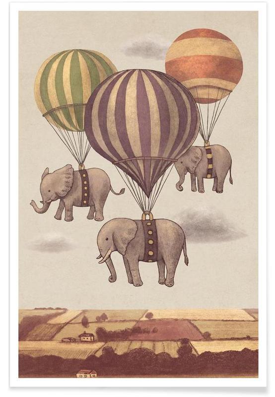 Éléphants, Art pour enfants, Flight of the Elephants affiche