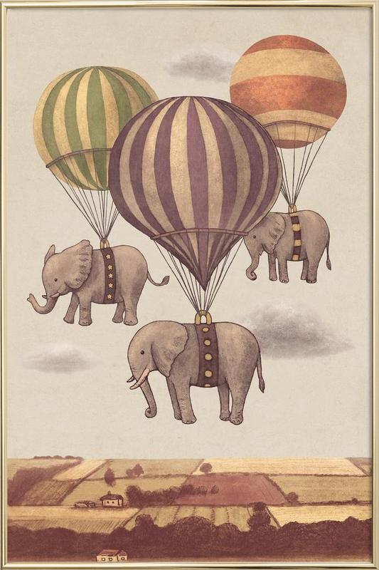 Flight of the Elephants Poster in Aluminium Frame