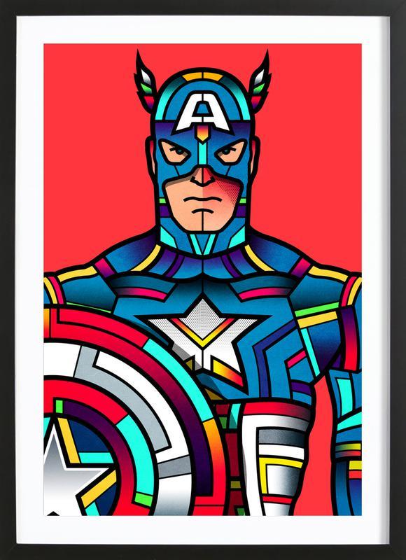 Captain America -Bild mit Holzrahmen