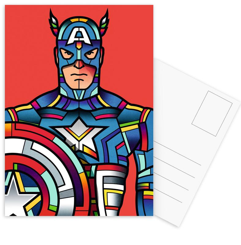 Captain America, Pop Art, Captain America Postcard Set