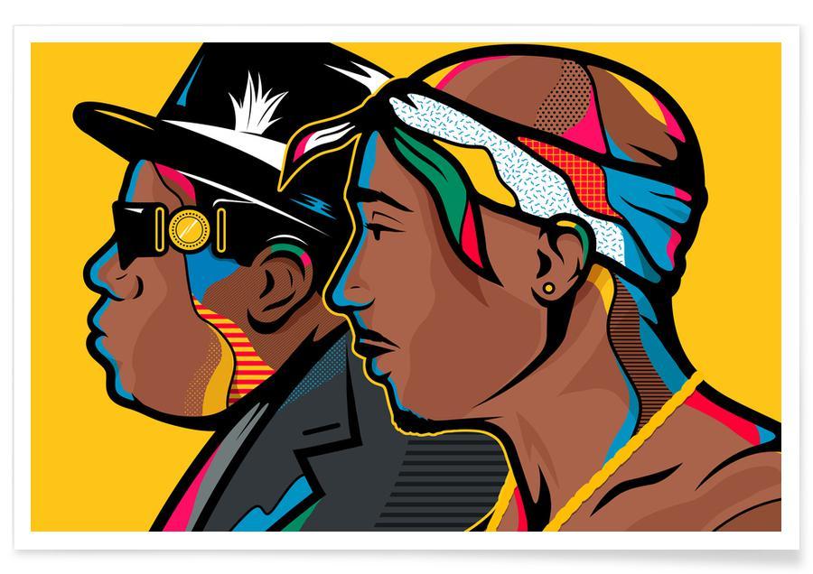 Notorious B.I.G., Tupac, Hip-Hop & Rap, Tupac et Biggie pop art affiche