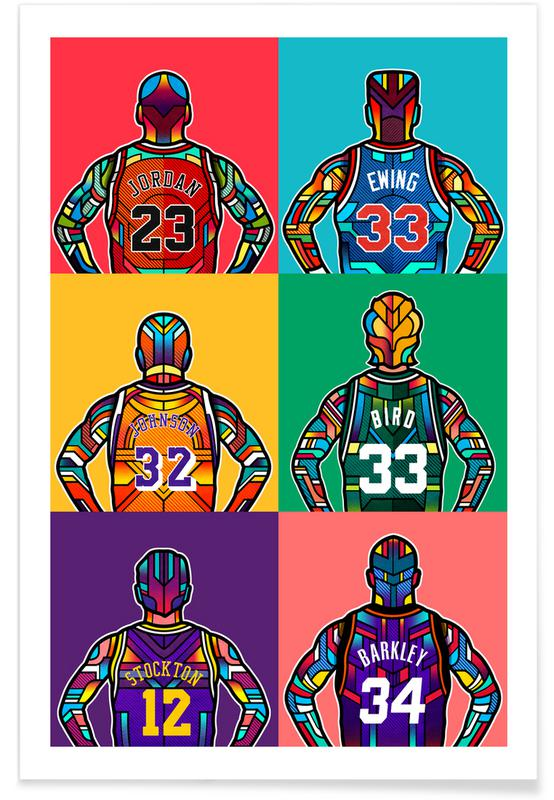 Légendes de NBA pop art affiche