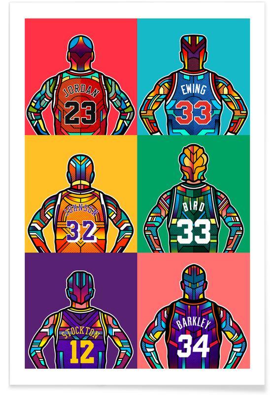 Basket-ball, Pop Art, Légendes de NBA pop art affiche