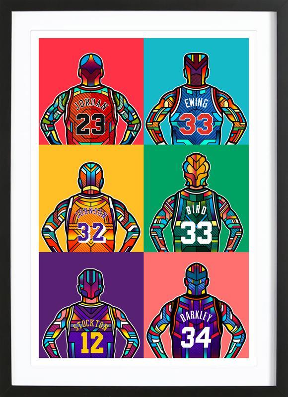 NBA Legends -Bild mit Holzrahmen