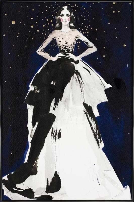 Fashion illustration dark sky Framed Poster