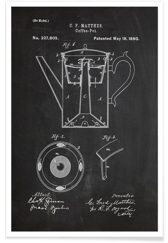 Black & White, Coffee, Coffee Pot Patent Poster