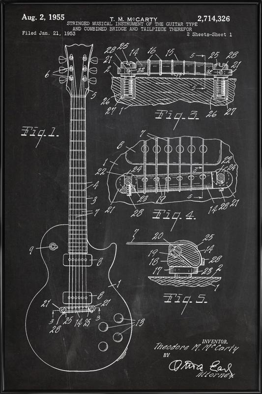 Guitar ingelijste poster