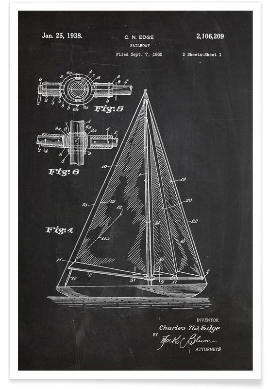 Black & White, Boats, Sailboat Patent Poster