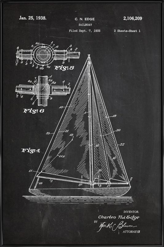 Sailboat -Bild mit Kunststoffrahmen