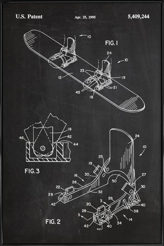 Modern Snowboard ingelijste poster