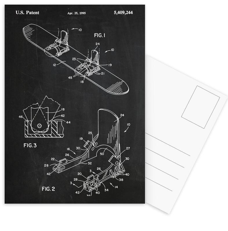 Modern Snowboard -Postkartenset