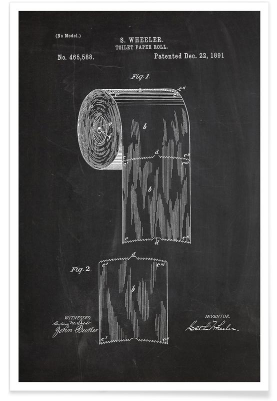 Retro, Svart & vit, Toilet Paper Patent Poster