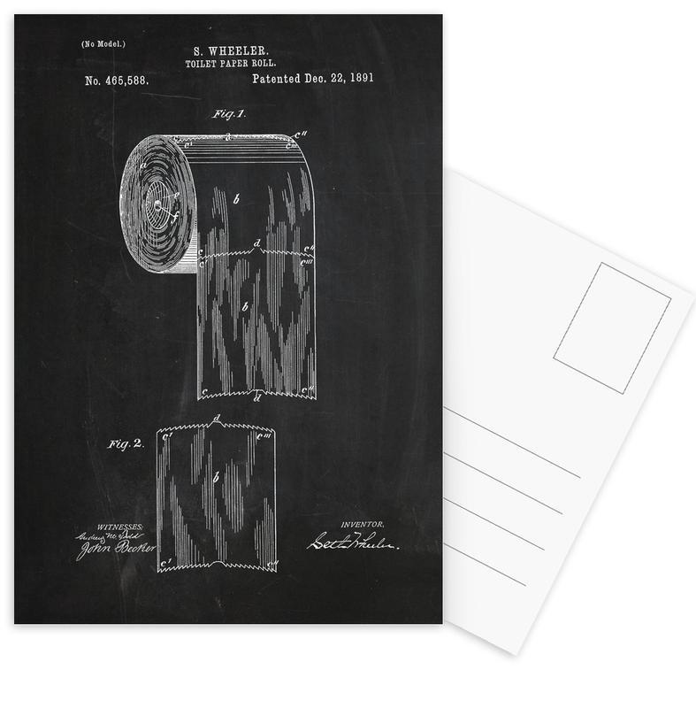 Retro, Zwart en wit, Toilet Paper ansichtkaartenset