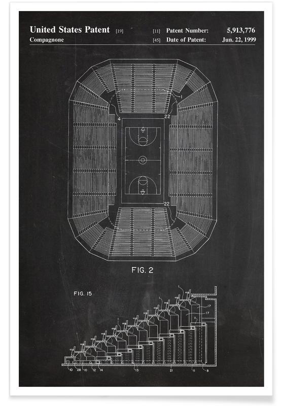 Basketball, Schwarz & Weiß, Basketballplatz-Patent -Poster