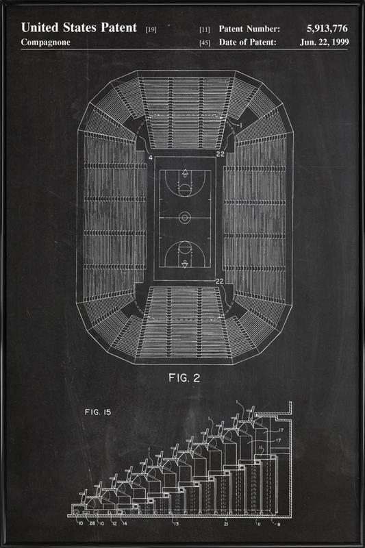 Basketball Court Framed Poster