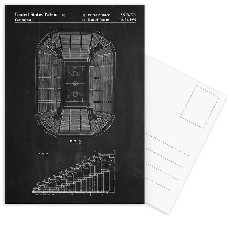 Basketbal, Zwart en wit, Basketball Court ansichtkaartenset