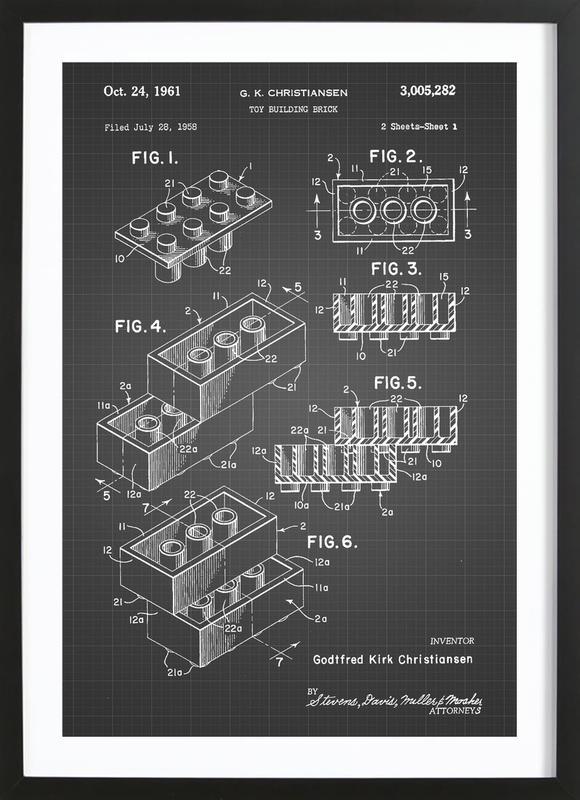 Brick System 2 ingelijste print