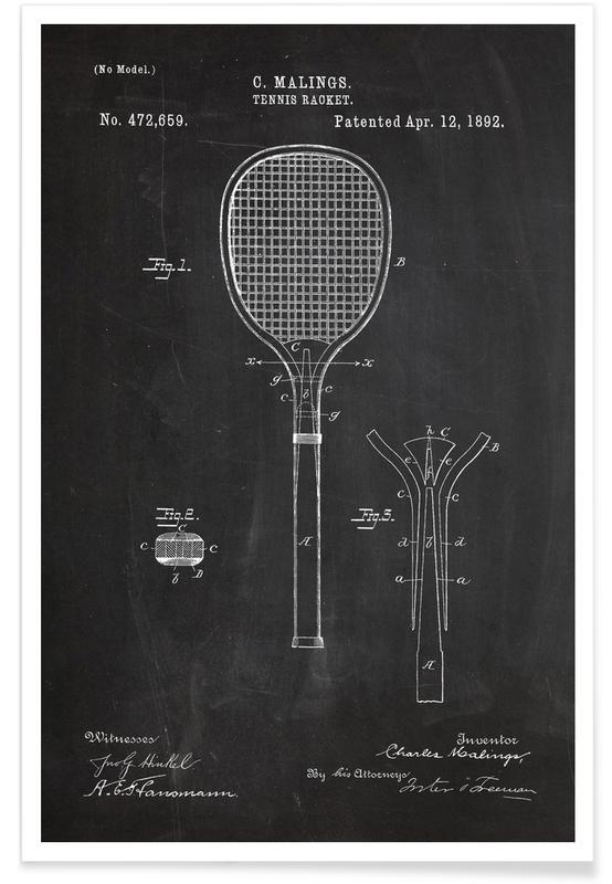 Tennis, Black & White, Tennis Racket Patent Poster