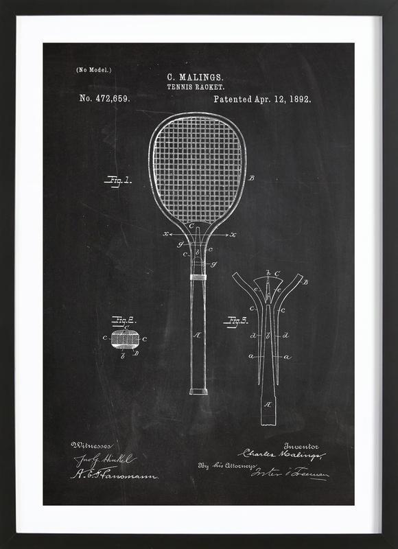 Tennis Racket affiche sous cadre en bois