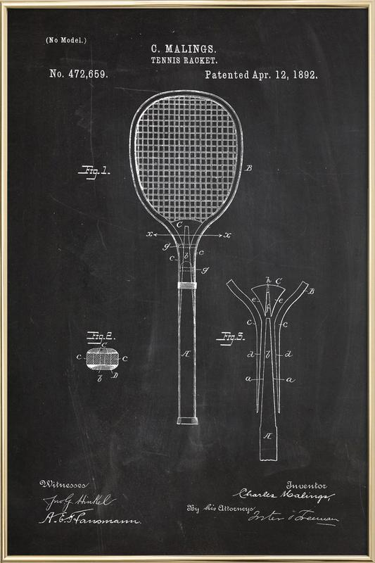 Tennis Racket Poster in Aluminium Frame