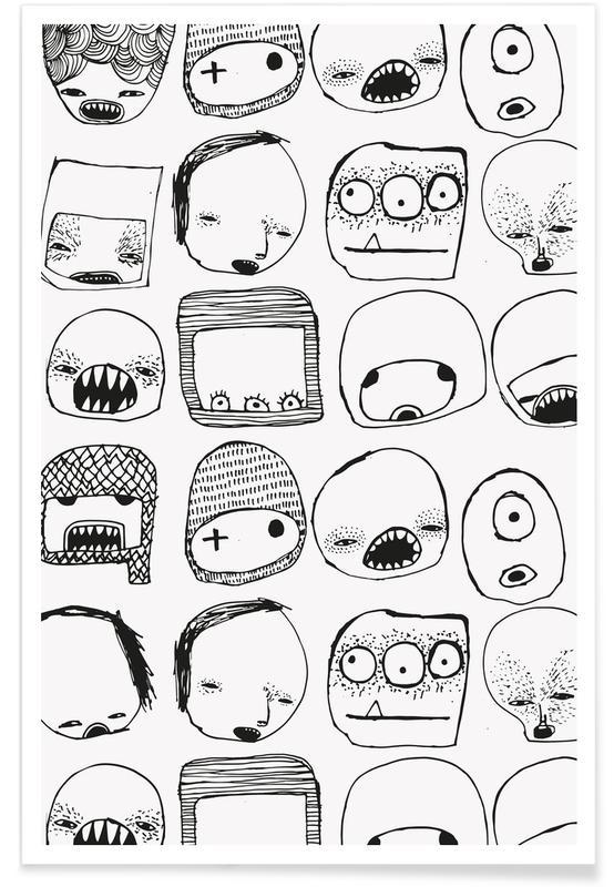 Noir & blanc, Art pour enfants, Queridos affiche