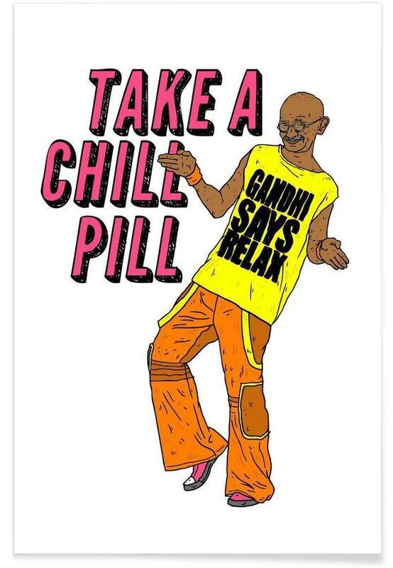 Grappig, Politieke figuren, Street art, Gandhi One poster