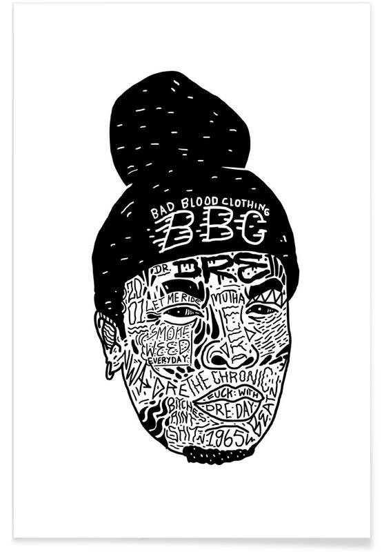 Hip Hop & Rap, Street Art Style, Black & White, Dre Poster