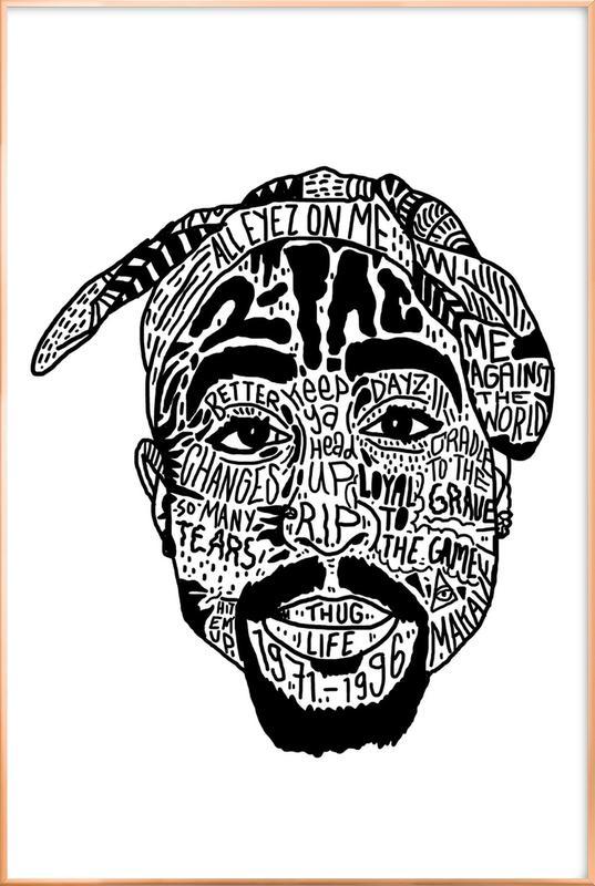 Tupac affiche sous cadre en aluminium