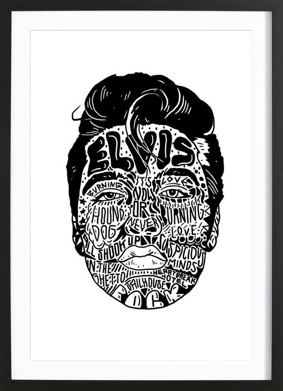 Elvis ingelijste print