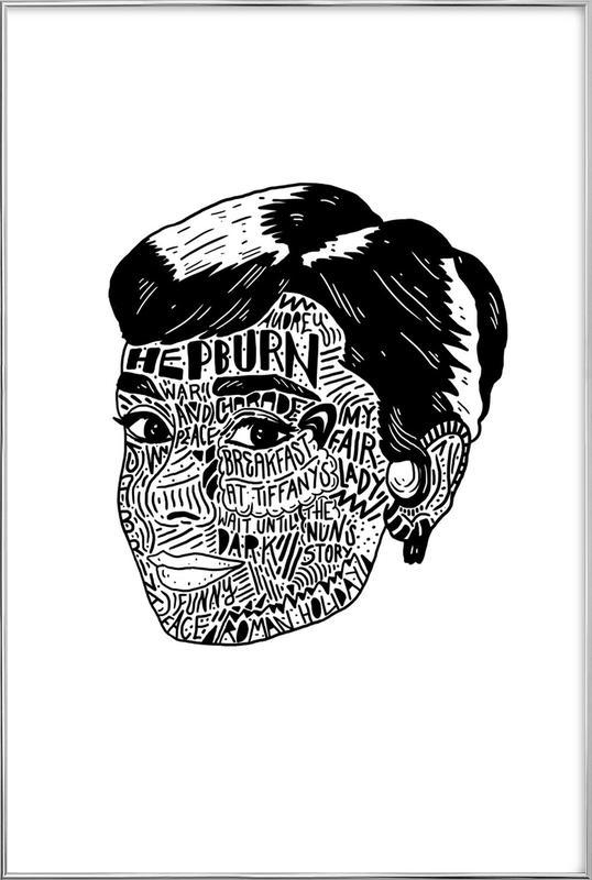 Audrey -Poster im Alurahmen