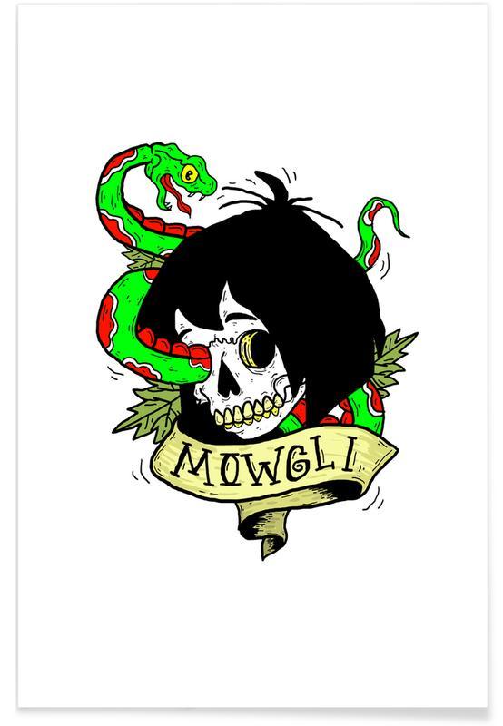 Street Art Style, Movies, Skulls, Mowgli Poster